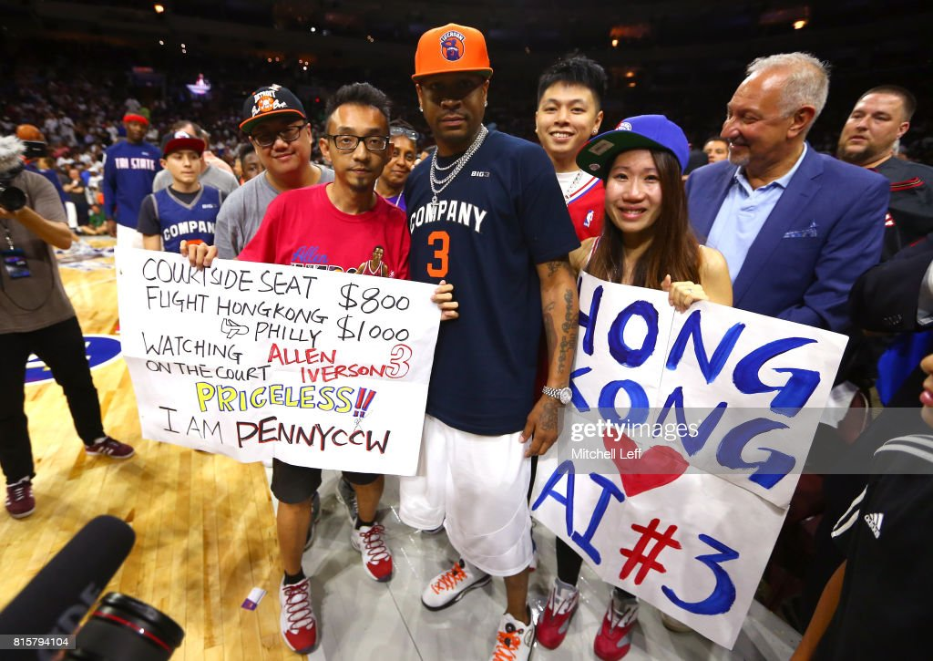 Allen Iverson #3 of 3's Company greets fans during week four of the BIG3 three on three basketball league at Wells Fargo Center on July 16, 2017 in Philadelphia, Pennsylvania.