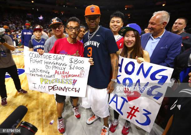 Allen Iverson of 3's Company greets fans during week four of the BIG3 three on three basketball league at Wells Fargo Center on July 16 2017 in...