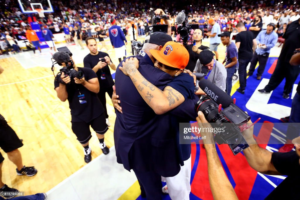 Allen Iverson #3 of 3's Company hugs coach Julius 'Dr. J' Erving of Tri-State during week four of the BIG3 three on three basketball league at Wells Fargo Center on July 16, 2017 in Philadelphia, Pennsylvania.