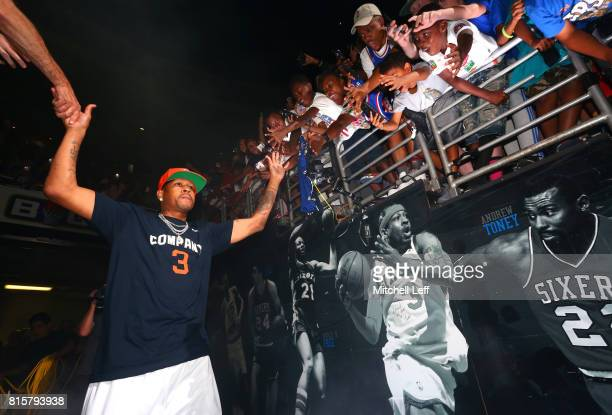 Allen Iverson of 3's Company is introduced to the crowd during week four of the BIG3 three on three basketball league at Wells Fargo Center on July...