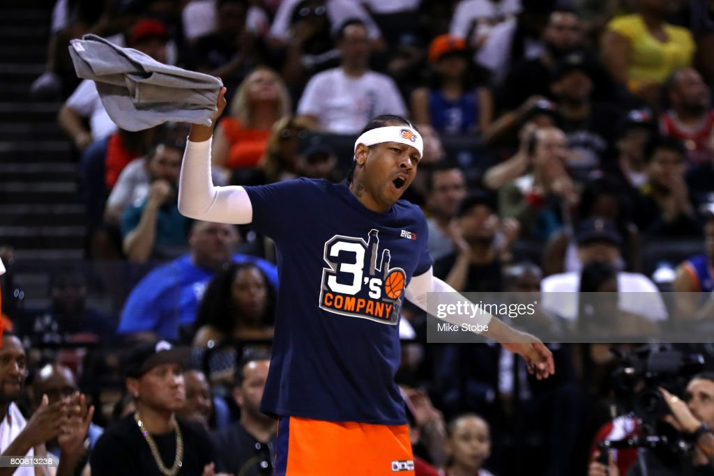 Allen Iverson #3 of 3's Company reacts in the game against the Ball Hogs during week one of the BIG3 three on three basketball league at Barclays Center on June 25, 2017 in New York City.