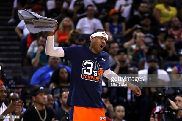 Allen Iverson of 3's Company reacts in the game against the Ball Hogs during week one of the BIG3 three on three basketball league at Barclays Center...