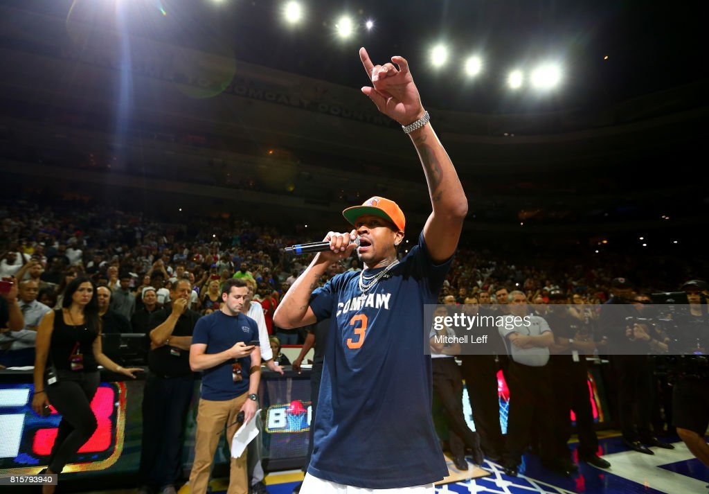 Allen Iverson #3 of 3's Company speaks to the crowd during week four of the BIG3 three on three basketball league at Wells Fargo Center on July 16, 2017 in Philadelphia, Pennsylvania.