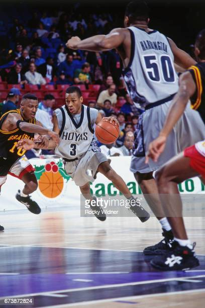 Allen Iverson of Georgetown drives to the basket against Grambling on December 28 1994 at ARCO Arena in Sacramento California NOTE TO USER User...