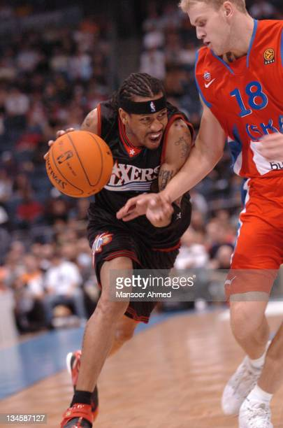 Allen Iverson of Philadelphia drives past Anton Ponkrashov of CSKA Moscow during the NBA Europe Live Tour presented by EA Sports on October 11, 2006...