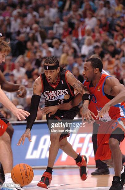 Allen Iverson of Philadelphia tries to get past CSKA Moscow's JR Holden during the NBA Europe Live Tour presented by EA Sports on October 11, 2006 at...