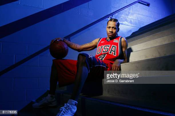 Allen Iverson of Team USA poses for a portrait at the University of Florida Arena on July 26 2004 in Jacksonville Florida NOTE TO USER User expressly...