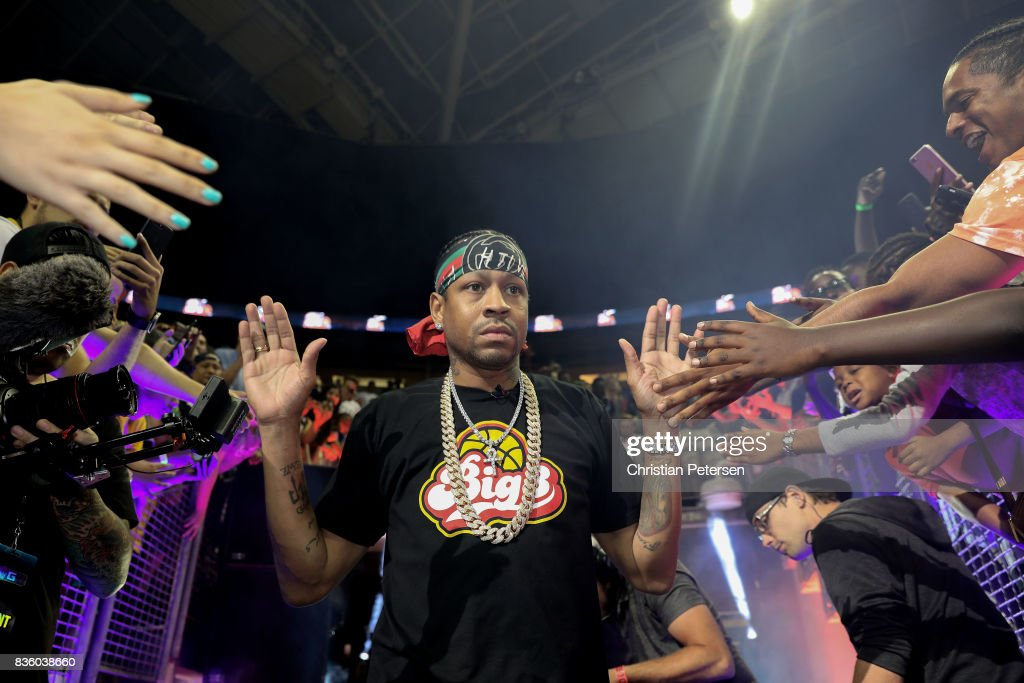 Allen Iverson #3 of the 3Õs Company high fives fans while being introduced in week nine of the BIG3 three-on-three basketball league at KeyArena on August 20, 2017 in Seattle, Washington.