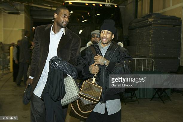 Allen Iverson of the Denver Nuggets and Chris Webber of the Philadelphia 76ers arrive to the game at the same time at the Pepsi Center January 2 2007...