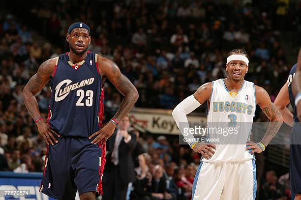 Allen Iverson of the Denver Nuggets and LeBron James of the Cleveland Cavaliers stand together during the game on November 12 2007 at the Pepsi...