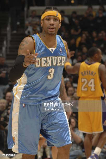 Allen Iverson of the Denver Nuggets argues a call with a referee during the game against Kobe Bryant of the Los Angeles Lakers on January 5 2007 at...