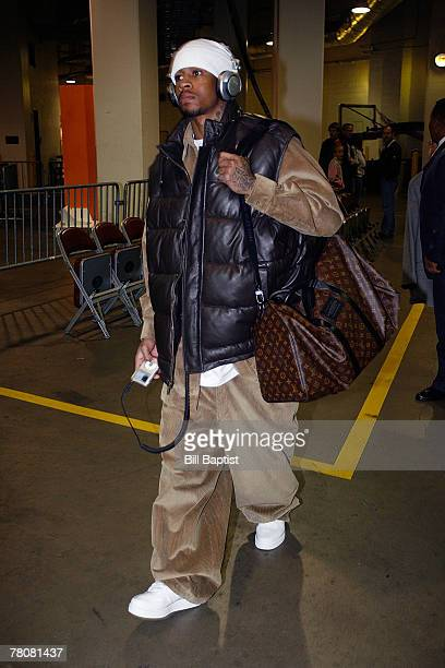 Allen Iverson of the Denver Nuggets arrives before the game on November 24 2007 at the Toyota Center in Houston Texas NOTE TO USER User expressly...