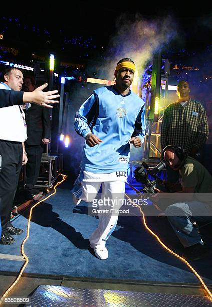 Allen Iverson of the Denver Nuggets being introduced against the Las Angeles Lakers on November 1 2008 at the Pepsi Center in Denver Colorado NOTE TO...