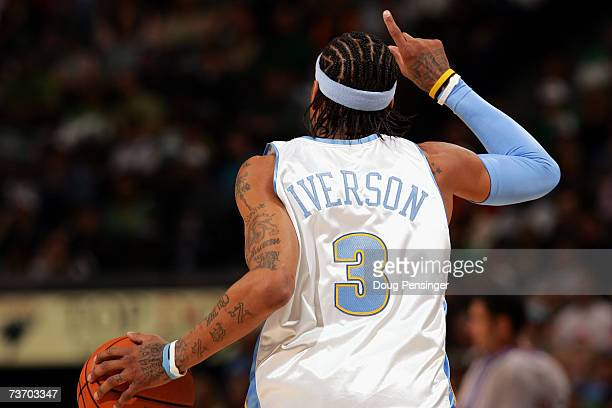 Allen Iverson of the Denver Nuggets brings the ball downcourt during the game against the Phoenix Suns on March 17 2007 at the Pepsi Center in Denver...