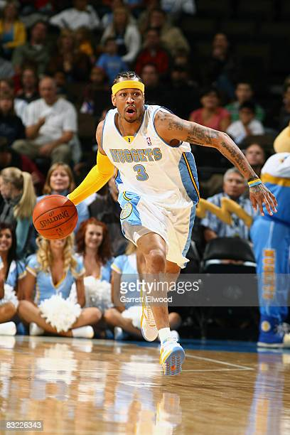 Allen Iverson of the Denver Nuggets brings the ball up court against the Minnesota Timberwolves on October 10 2008 at the Pepsi Center in Denver...