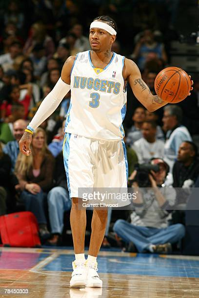 Allen Iverson of the Denver Nuggets brings the ball up the court against the Indiana Pacers during the game on November 27 2007 at the Pepsi Center...