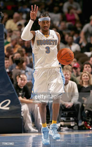 Allen Iverson of the Denver Nuggets calls a play during the game against the Boston Celtics on December 26 2006 at the Pepsi Center in Denver...