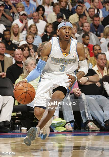 Allen Iverson of the Denver Nuggets dribbles against the San Antonio Spurs in Game Three of the Western Conference Quarterfinals during the 2007 NBA...