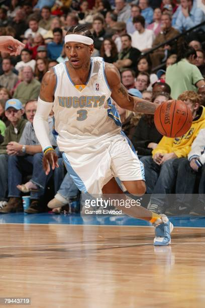 Allen Iverson of the Denver Nuggets dribbles against the San Antonio Spurs during the game at the Pepsi Center January 3 2008 in Denver Colorado The...