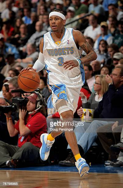 Allen Iverson of the Denver Nuggets dribbles agasint the Philadelphia 76ers as he had a game high 38 points at the Pepsi Center on January 6 2008 in...