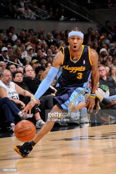 Allen Iverson of the Denver Nuggets drives against the San Antonio Spurs on December 15 2007 at the ATT Center in San Antonio Texas NOTE TO USER User...