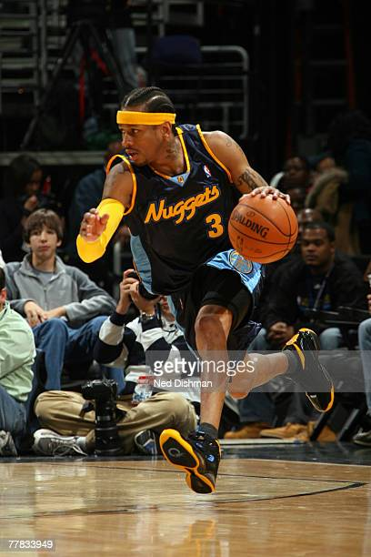 Allen Iverson of the Denver Nuggets drives against the Washington Wizards at the Verizon Center on November 9 2007 in Washington DC NOTE TO USER User...
