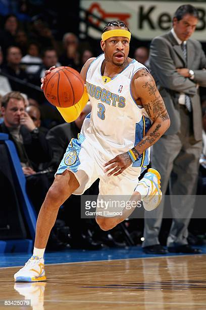 Allen Iverson of the Denver Nuggets drives the ball up court during the preseason game against the Minnesota Timberwolves on October 10 2008 at the...