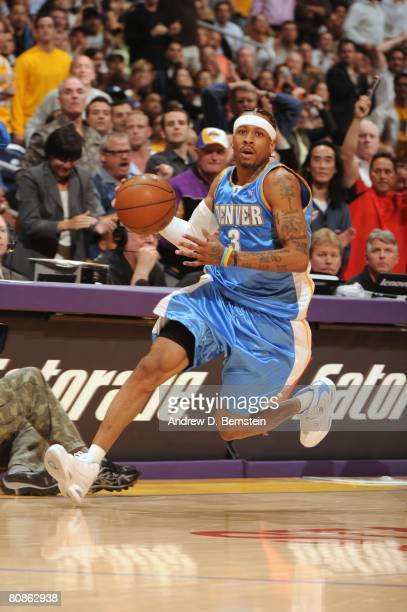 Allen Iverson of the Denver Nuggets drives the ball up court in Game Two of the Western Conference Quarterfinals against the Los Angeles Lakers...