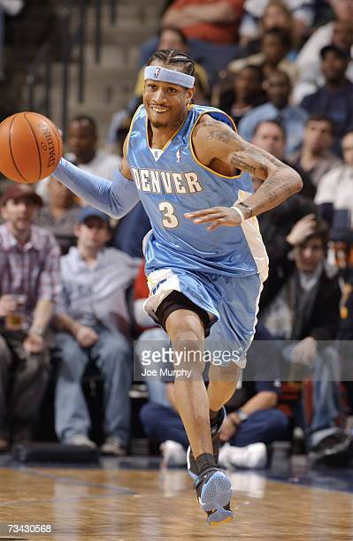 Allen Iverson of the Denver Nuggets drives up the court on February 26 2007 at FedExForum in Memphis Tennessee NOTE TO USER User expressly...