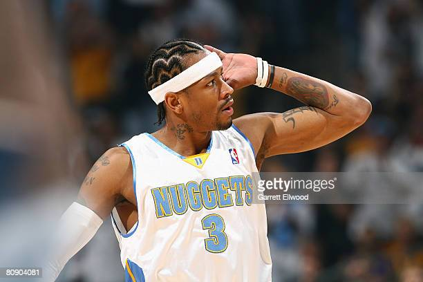 Allen Iverson of the Denver Nuggets gets the crowd fired up against the Los Angeles Lakers in Game Four of the Western Conference Quarterfinals...