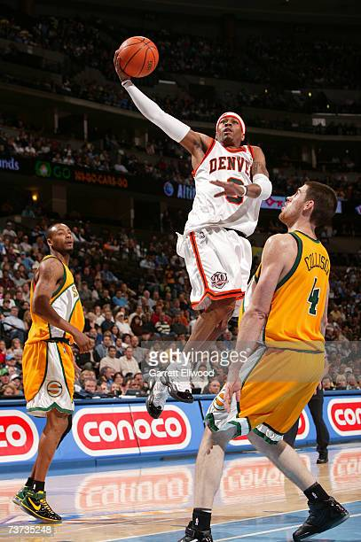 Allen Iverson of the Denver Nuggets goes to the basket against Nick Collison of the Seattle SuperSonics on March 28 2007 at the Pepsi Center in...