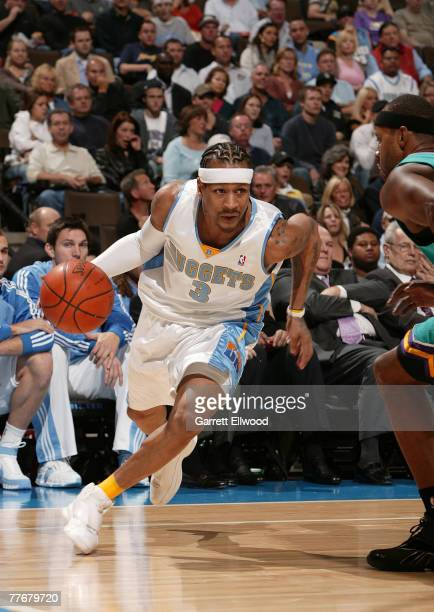 Allen Iverson of the Denver Nuggets goes to the basket against the New Orleans Hornets on November 4 2007 at the Pepsi Center in Denver Colorado NOTE...