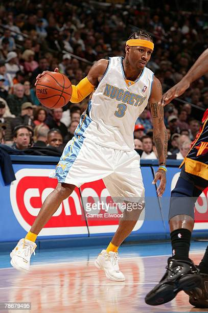 Allen Iverson of the Denver Nuggets goes to the basket against the Golden State Warriors on December 30 2007 at the Pepsi Center in Denver Colorado...
