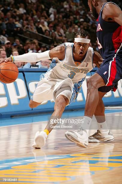 Allen Iverson of the Denver Nuggets goes to the basket against the Atlanta Hawks on January 23 2008 at the Pepsi Center in Denver Colorado NOTE TO...