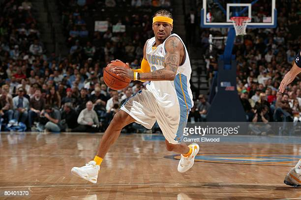 Allen Iverson of the Denver Nuggets goes to the basket against the Dallas Mavericks on March 27 2008 at the Pepsi Center in Denver Colorado NOTE TO...