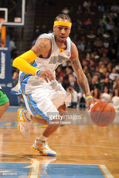 Allen Iverson of the Denver Nuggets goes to the basket against the Minnesota Timberwolves on October 10 2008 at the Pepsi Center in Denver Colorado...