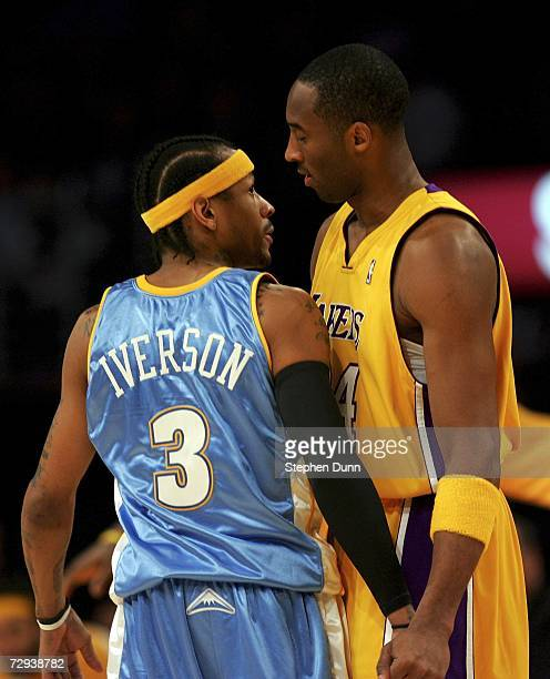Allen Iverson of the Denver Nuggets greets Kobe Bryant of the Los Angeles Lakers before their game at Staples Center January 5 2007 in Los Angeles...