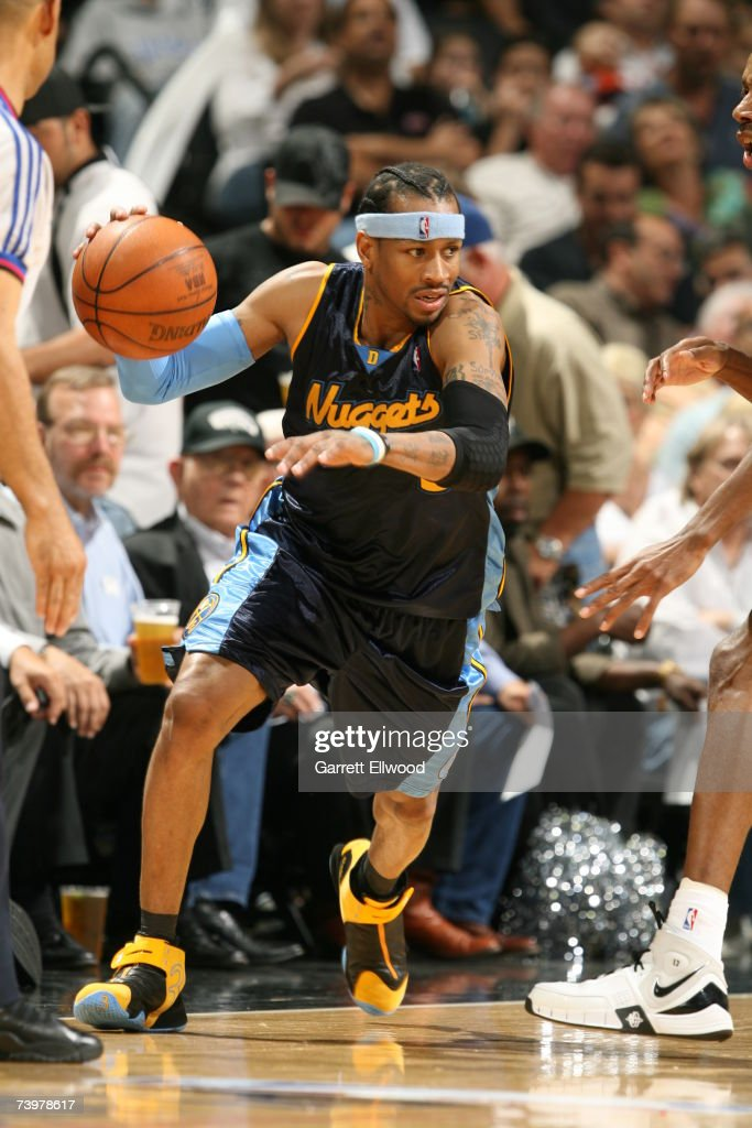 Allen Iverson #3 of the Denver Nuggets in action during the game against the San Antonio Spurs in Game Two of the Western Conference Quarterfinals during the 2007 NBA Playoffs at AT&T Center on April 25, 2007 in San Antonio, Texas.