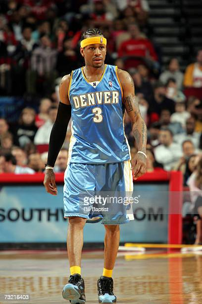 Allen Iverson of the Denver Nuggets is on the court during the game against the Houston Rockets during the game at the Toyota Center on January 20...