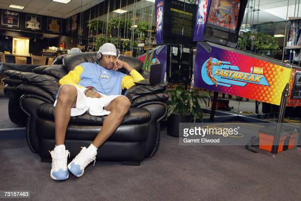 Allen Iverson of the Denver Nuggets listens to music in the player's lounge before the NBA game against the Utah Jazz on January 6 2007 at the Pepsi...