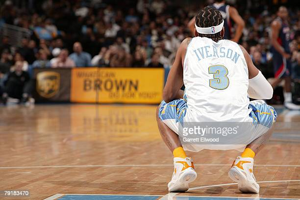 Allen Iverson of the Denver Nuggets looks on against the Atlanta Hawks on January 23 2008 at the Pepsi Center in Denver Colorado NOTE TO USER User...