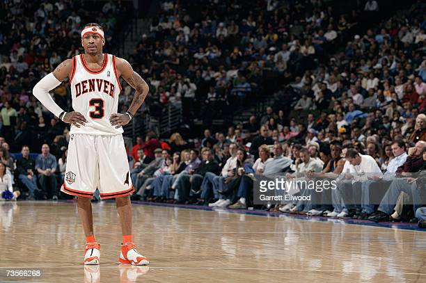 Allen Iverson of the Denver Nuggets looks on during the game against the Utah Jazz on February 23 2007 at the Pepsi Center in Denver Colorado The...