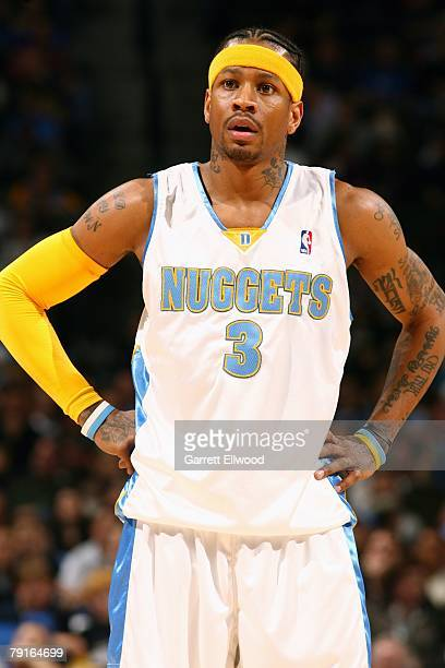Allen Iverson of the Denver Nuggets looks on during the game against the Milwaukee Bucks at the Pepsi Center on December 26 2007 in Denver Colorado...