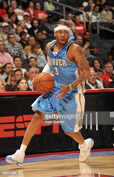 Allen Iverson of the Denver Nuggets moves the ball against the Los Angeles Clippers during the game at Staples Center on October 24 2008 in Los...