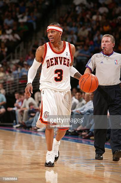 Allen Iverson of the Denver Nuggets moves the ball against the Seattle SuperSonics during the game at the Pepsi Center on March 28 2007 in Denver...
