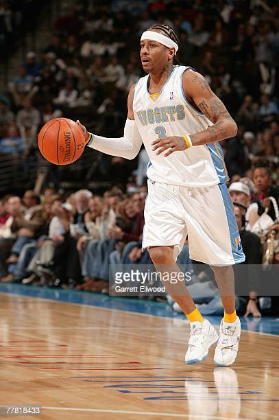 Allen Iverson of the Denver Nuggets moves the ball against the Seattle Supersonics during the game on October 31 2007 at the Pepsi Center in Denver...