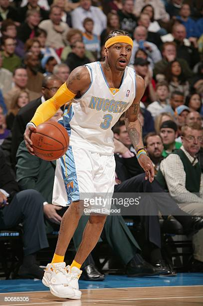 Allen Iverson of the Denver Nuggets moves the ball against the Seattle SuperSonics during the game on March 16 2008 at the Pepsi Center in Denver...