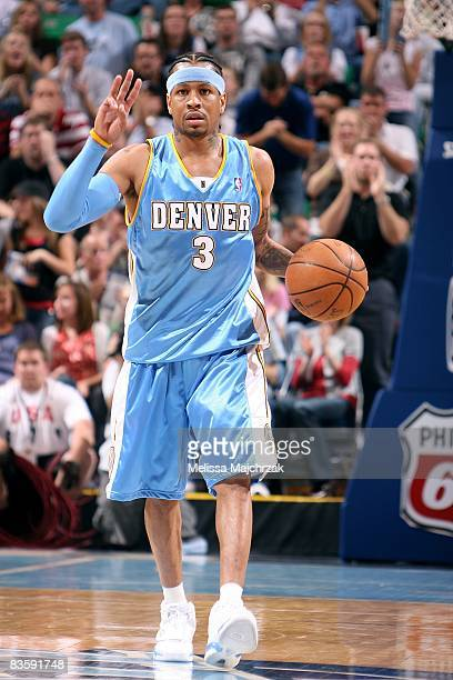 Allen Iverson of the Denver Nuggets moves the ball against the Utah Jazz during the game at EnergySolutions Arena on October 29 2008 in Salt Lake...