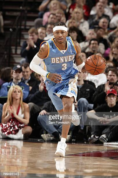 Allen Iverson of the Denver Nuggets moves the ball up court during the game against the Portland Trail Blazers at the Rose Garden Arena on February 4...