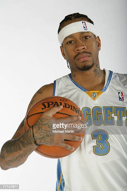 Allen Iverson of the Denver Nuggets poses during NBA Media Day at the Pepsi Center October 1 2007 in Denver Colorado NOTE TO USER User expressly...